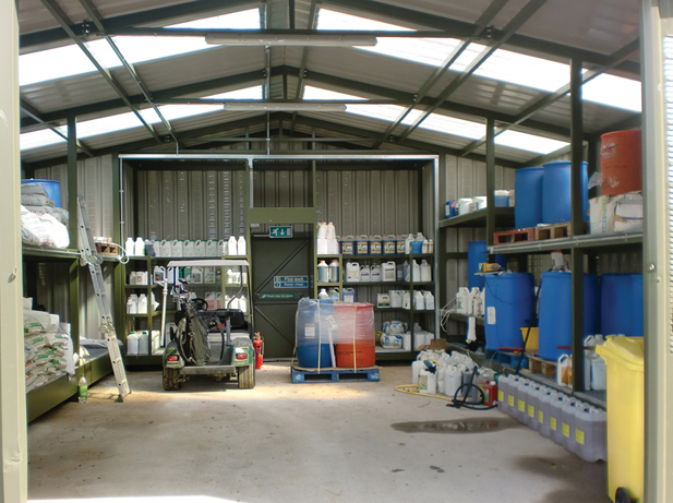 open chemical storage warehouse